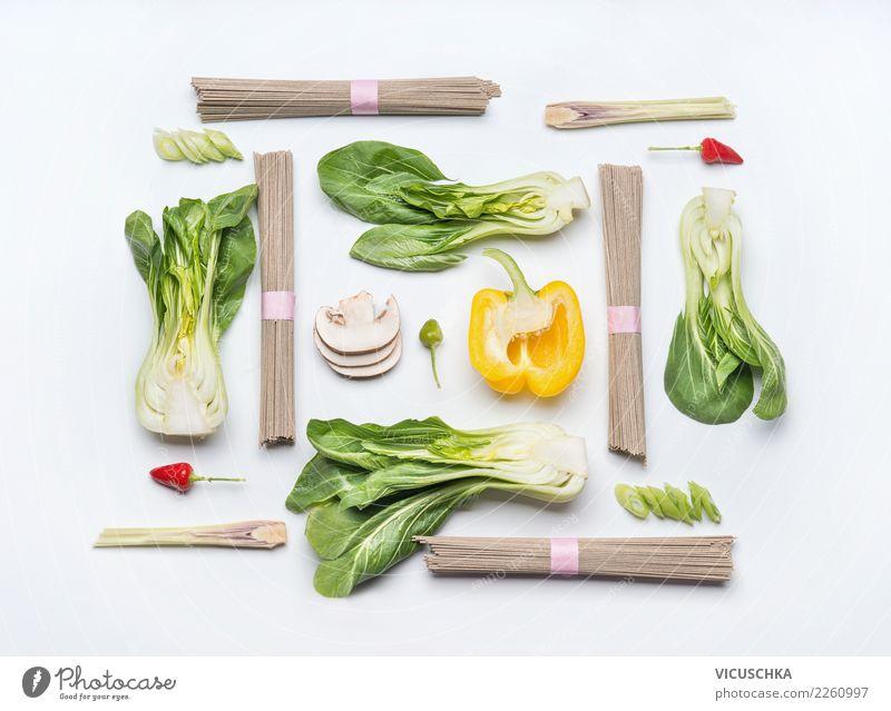 Zutaten für Asiatische Küche auf weiß Lebensmittel Gemüse Ernährung Mittagessen Bioprodukte Vegetarische Ernährung Diät Stil Design Gesundheit Gesunde Ernährung