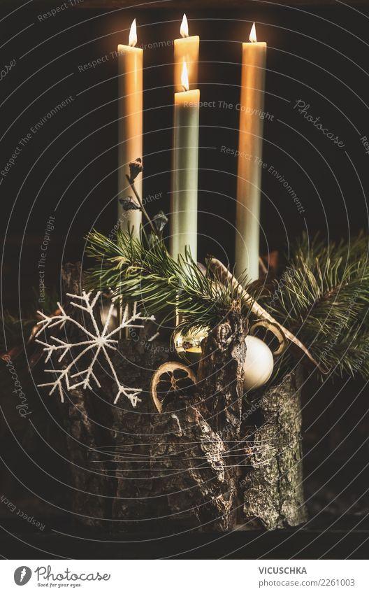 Adventskranz elegant Stil Design Winter Häusliches Leben Wohnung Haus Feste & Feiern Weihnachten & Advent Dekoration & Verzierung Kerze Zeichen Gefühle Stimmung