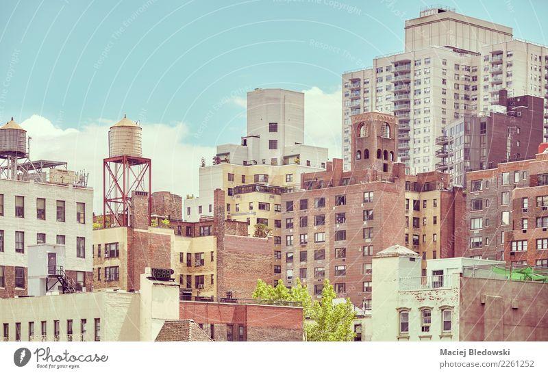 Alte Wohngebäude in New York City. Sightseeing Städtereise Wohnung Haus Stadtzentrum Skyline überbevölkert Hochhaus Gebäude Architektur Mauer Wand Fassade