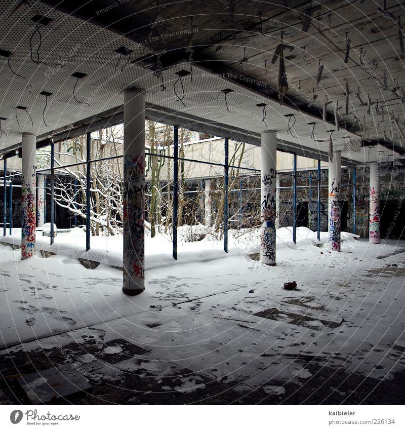 Wintergarten Schnee Baum Sträucher Bauwerk Gebäude Säule Innenhof Lichthof Fenster Decke Beton Graffiti Plattenbau alt dunkel kaputt grau weiß Endzeitstimmung