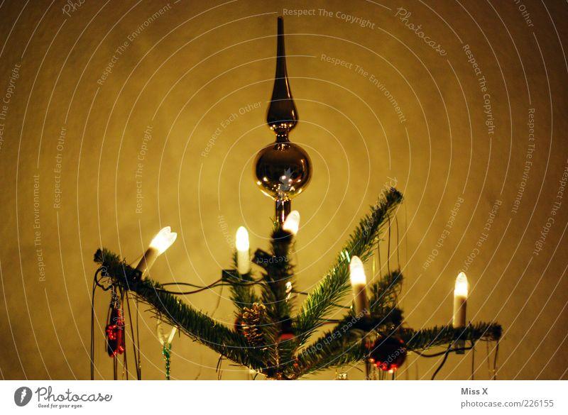 Spitze Weihnachten & Advent Baum Winter dunkel Beleuchtung gold glänzend Dekoration & Verzierung Kitsch leuchten Weihnachtsbaum Christbaumkugel Abend Weihnachtsdekoration Lichterkette