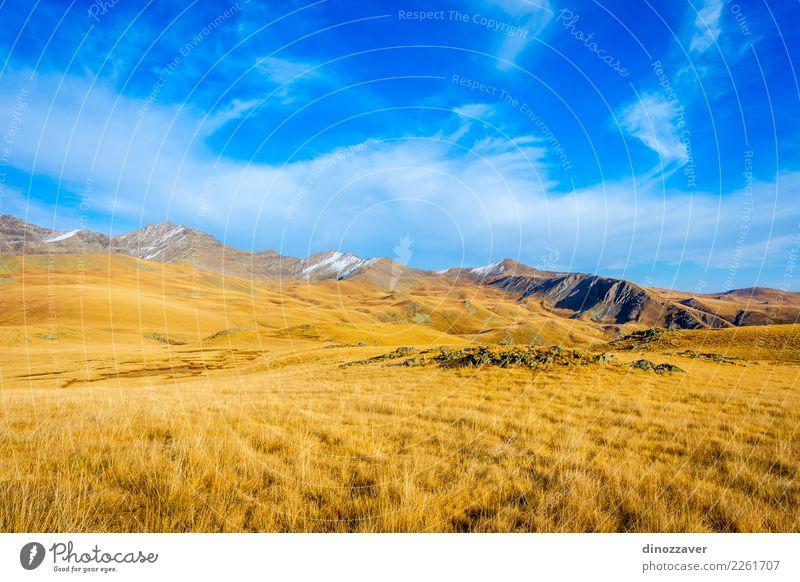 Goldene Berge, Lagodekhi, Georgia Natur Ferien & Urlaub & Reisen blau Sommer schön Landschaft Sonne Wolken Berge u. Gebirge Umwelt Herbst Wiese Wege & Pfade