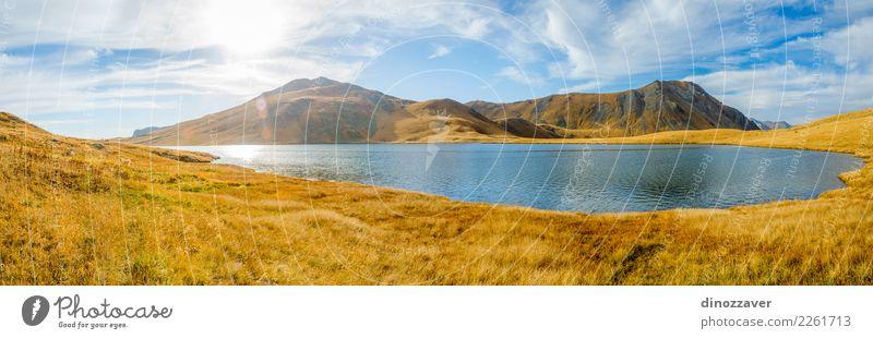 Schwarzes Rock Lake-Panorama, Georgia Natur Ferien & Urlaub & Reisen blau schön Landschaft Sonne Berge u. Gebirge Umwelt Herbst Wiese natürlich Gras Tourismus