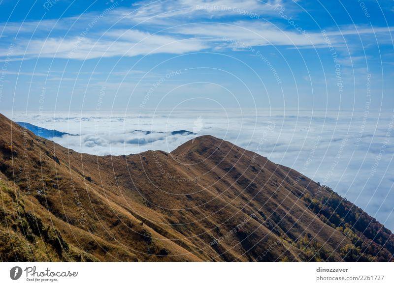 Das Meer der Wolken über den Bergen, Georgia Natur Ferien & Urlaub & Reisen blau schön Landschaft Sonne Berge u. Gebirge Umwelt Herbst Wege & Pfade Wiese