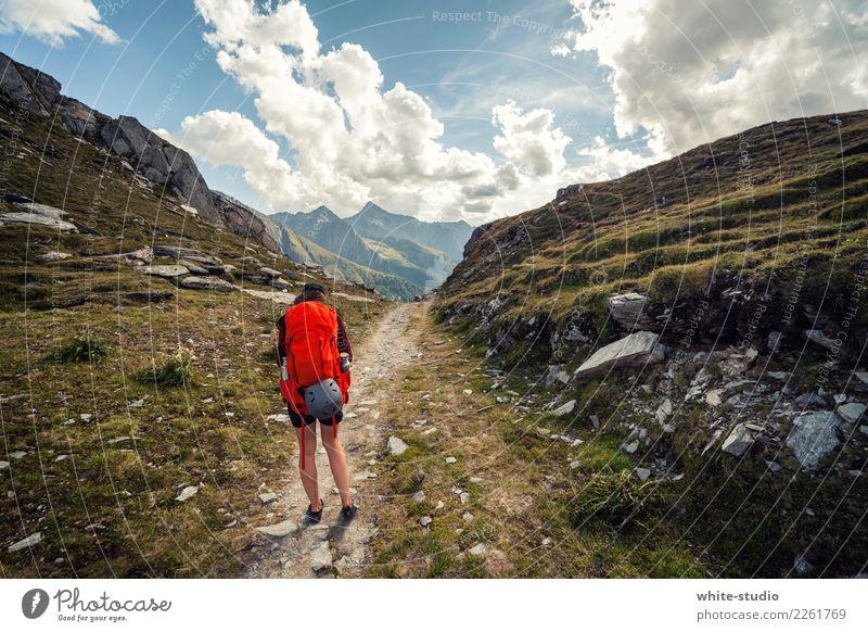 Auf ins Abenteuer Junge Frau Jugendliche 18-30 Jahre Erwachsene Umwelt Natur Landschaft Felsen Alpen Berge u. Gebirge Gipfel wandern Rucksack Rucksacktourismus