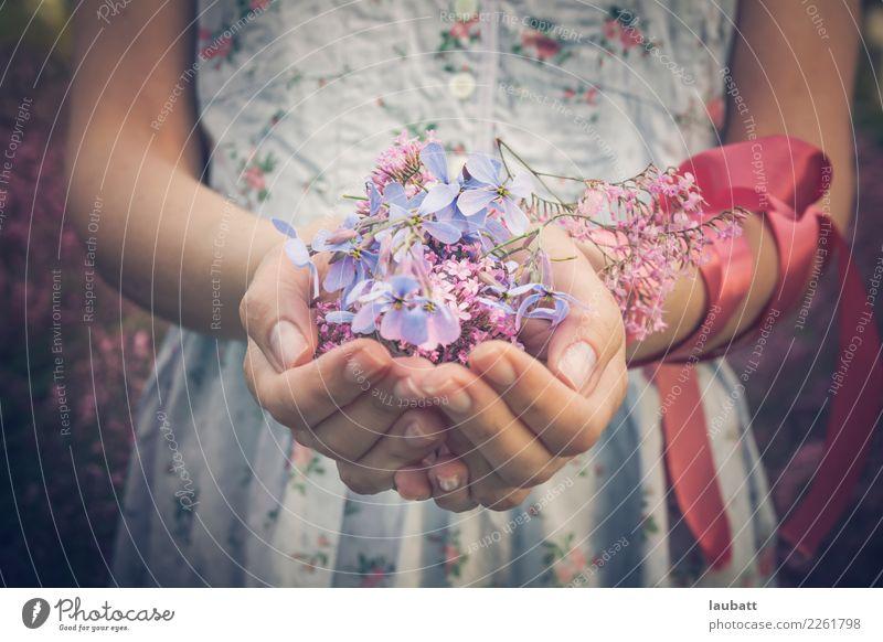 Blumen für dich Maniküre Frau Erwachsene Hand Fliederbusch Blumenstrauß Schnur Knoten Blühend Feste & Feiern Freundlichkeit feminin Akzeptanz Einigkeit loyal