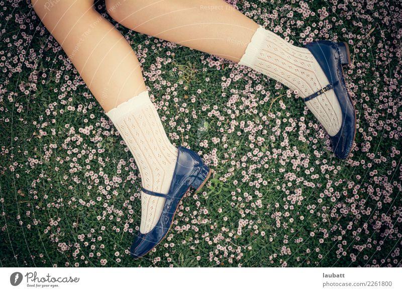 Auf der Prärie in voller Blüte Mädchen Junge Frau Jugendliche Beine Fuß Kniestrümpfe Mary Jane Schuhe Abenteuer Beginn Bildung Ferien & Urlaub & Reisen Freiheit