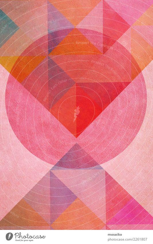 Kreisrund 6 Freude Lifestyle Stil Kunst rosa Design Zufriedenheit Linie retro elegant ästhetisch Idee Grafik u. Illustration Streifen