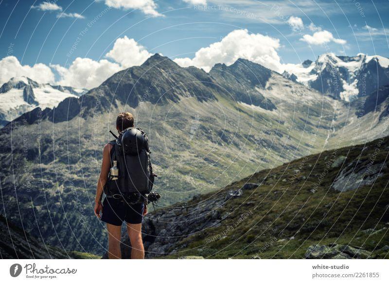 Hoch hinauf Mensch Natur Mann Sommer Sonne Erholung Freude Berge u. Gebirge Erwachsene Leben Lifestyle Sport Felsen maskulin wandern träumen