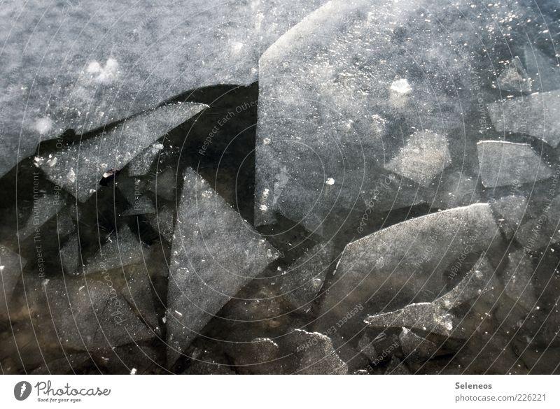 Eiszeit Winter Umwelt Natur Wasser Klima Frost Flüssigkeit kalt kaputt nass natürlich Eisscholle Eisschicht Farbfoto Außenaufnahme Detailaufnahme Menschenleer