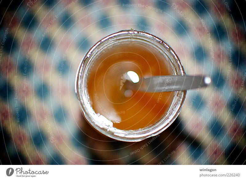 Honig Lebensmittel Marmelade Slowfood Getränk Flasche Glas Löffel Design Übergewicht Kunst Metall trinken dick Billig rund weich blau rot Geborgenheit
