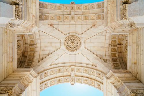 Architekturdetails von Rua Augusta Arch In Lissabon, Portugal Ferien & Urlaub & Reisen Stadt schön Wand Gebäude Kunst Mauer außergewöhnlich Tourismus Stein