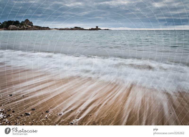 herumstreifen am strand 1 Natur Sand Wasser Wolken Wetter Küste Strand Meer frisch Ferne Zeit Gischt Wellen Streifen Bretagne Kieselsteine Muschel Schaum