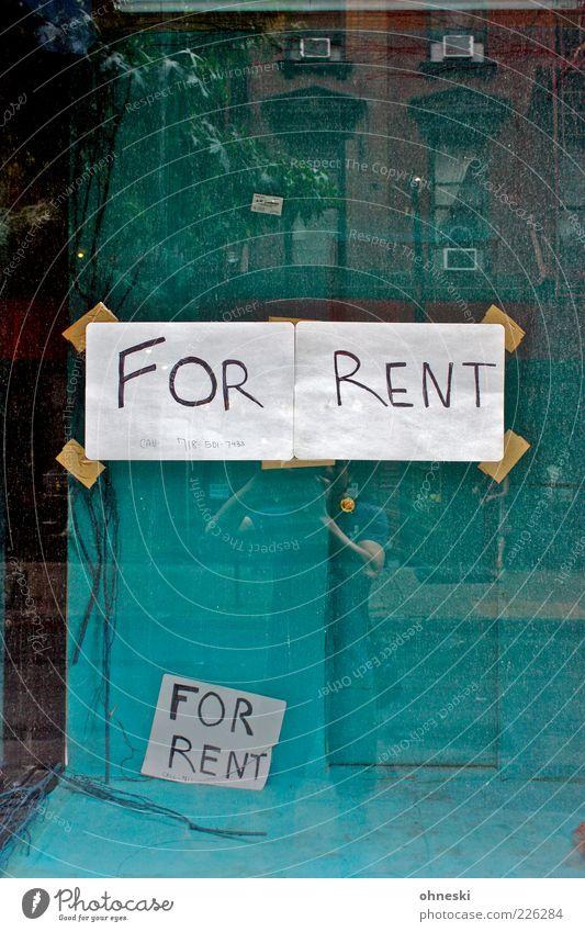 Zu vermieten Haus Fenster Schilder & Markierungen Fassade Papier Schriftzeichen einfach Ladengeschäft türkis Zettel Englisch Schaufenster Gebäude vermieten Großbuchstabe