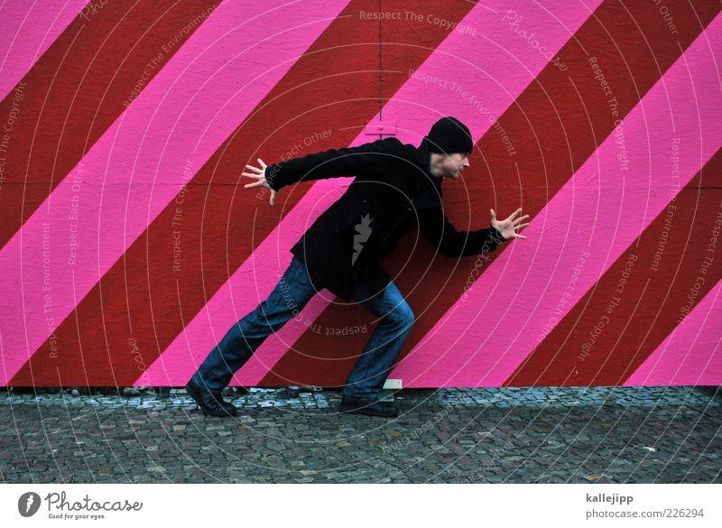 - step - Mensch Mann rot Erwachsene Bewegung Linie rosa gehen maskulin Streifen Mütze Zaun Dynamik Gleichgewicht Mantel 30-45 Jahre