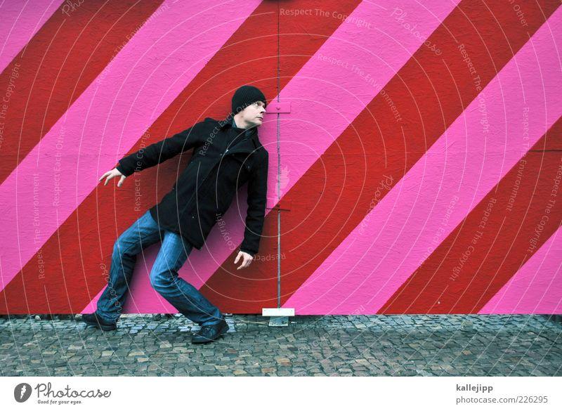 one - Mensch maskulin Mann Erwachsene 1 30-45 Jahre Blick rosa rot Linie Bauzaun umkehren Dynamik Farbfoto mehrfarbig Außenaufnahme Ganzkörperaufnahme Anpassung