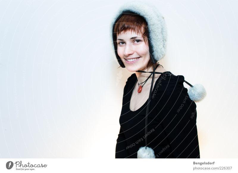 Wintermädchen Frau Mensch weiß schön Freude Gesicht schwarz Stil Haare & Frisuren Erwachsene Haut elegant Mode Fröhlichkeit