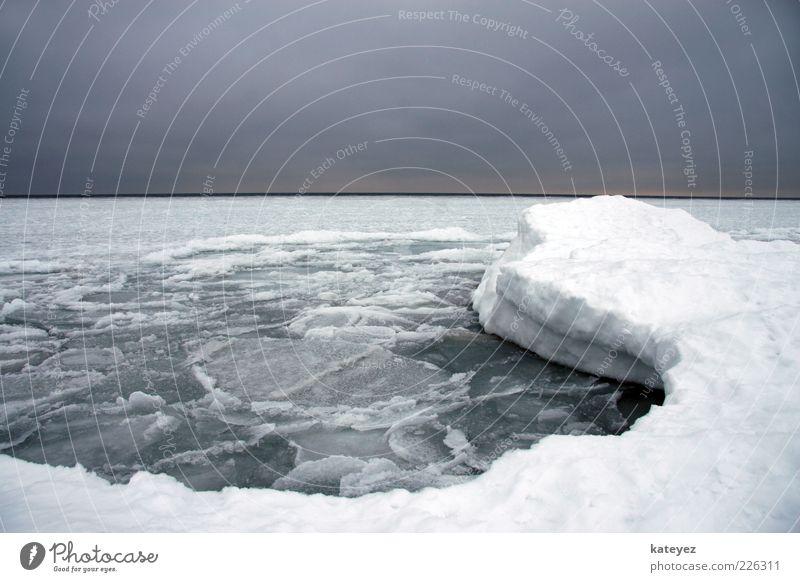 Ostsee ... oder doch Antarktis? Meer Winter Schnee Natur Wasser Horizont Wetter Eis Frost Menschenleer Erholung kalt blau grau weiß Einsamkeit Endzeitstimmung