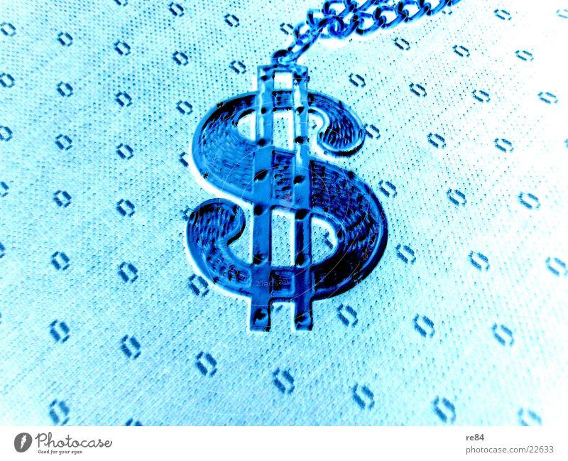 immer dollar! Schmuck US-Dollar Geld Muster Symbole & Metaphern Amerika türkis gold Money Zeichen USA blau entgegengesetzt Kette hell Glas