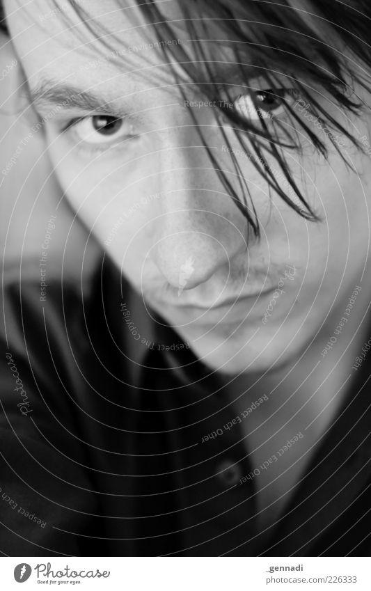 Wenn Blicke... Mensch maskulin Junger Mann Jugendliche Erwachsene Kopf Gesicht Auge Nase 1 18-30 Jahre Hemd langhaarig Oberlippenbart Lächeln einzigartig schön