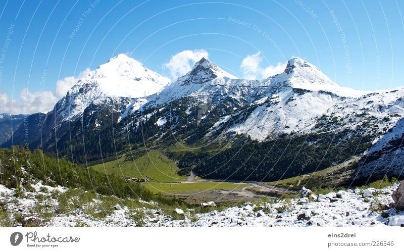 Ab ins Gebirge Himmel Natur grün blau Wolken Schnee Herbst Berge u. Gebirge Umwelt Landschaft Gras Wege & Pfade Sträucher Urelemente Alpen Schönes Wetter