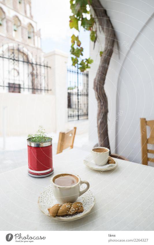 Cafe Teigwaren Backwaren Getränk Heißgetränk Kaffee Teller Tasse Ferien & Urlaub & Reisen Tourismus Altstadt Haus Kirche Mauer Wand Fassade einzigartig