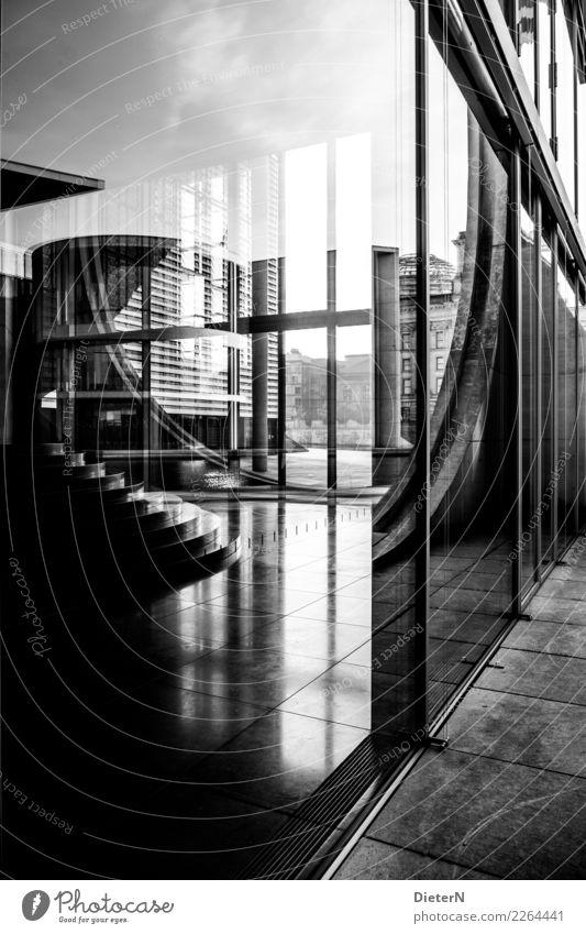 Glas und Beton Berlin Hauptstadt Stadtzentrum Menschenleer Bauwerk Gebäude Architektur Verwaltungsgebäude Mauer Wand Fassade grau schwarz weiß Regierungssitz