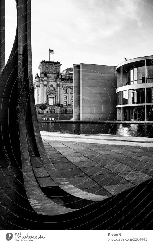 Bogen Berlin Berlin-Mitte Stadt Hauptstadt Stadtzentrum Menschenleer Bauwerk Gebäude Architektur Mauer Wand Fassade Sehenswürdigkeit Deutscher Bundestag grau
