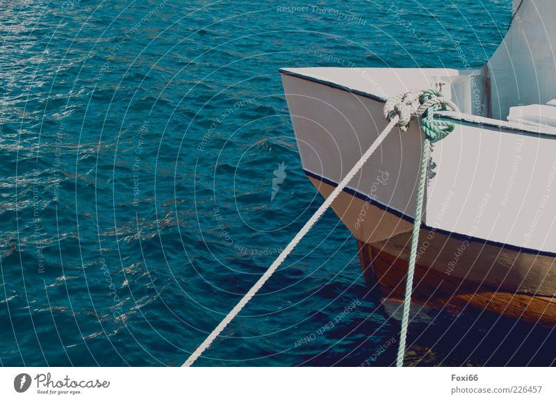 Ankern,Anlegen,Festmachen... Wasser weiß blau schwarz gelb Bewegung Wasserfahrzeug braun Wellen Schwimmen & Baden Seil Kunststoff Schifffahrt Schönes Wetter