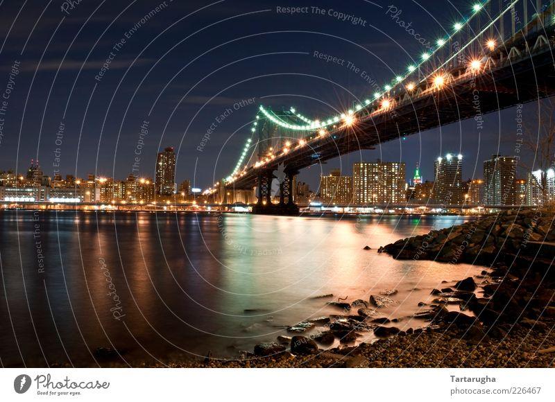Manhattan Bridge Wasser alt blau Stadt rot Ferien & Urlaub & Reisen schwarz Architektur Brücke Fluss USA violett Skyline Amerika Wahrzeichen