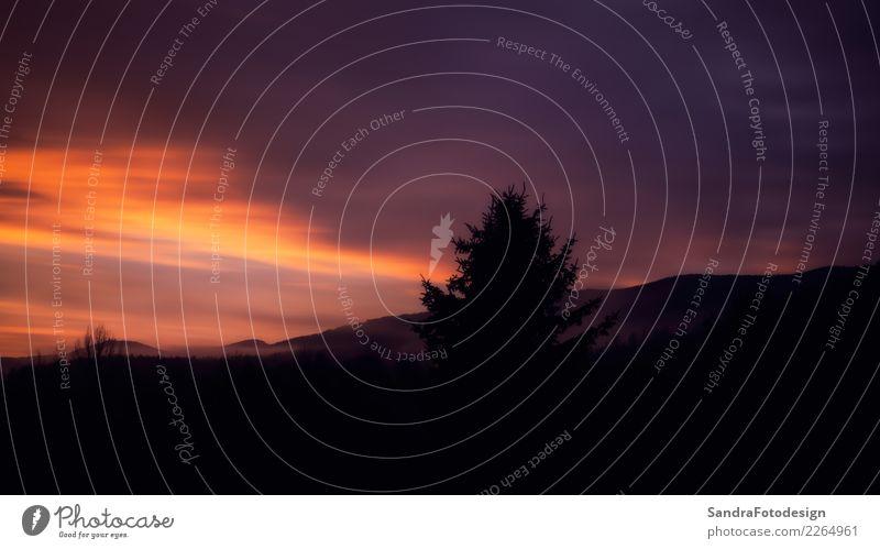 Sunset with view to the great Arber in Bavaria Ferien & Urlaub & Reisen Camping Sommer wandern Sport Umwelt Natur Landschaft Himmel Wolken Nachthimmel