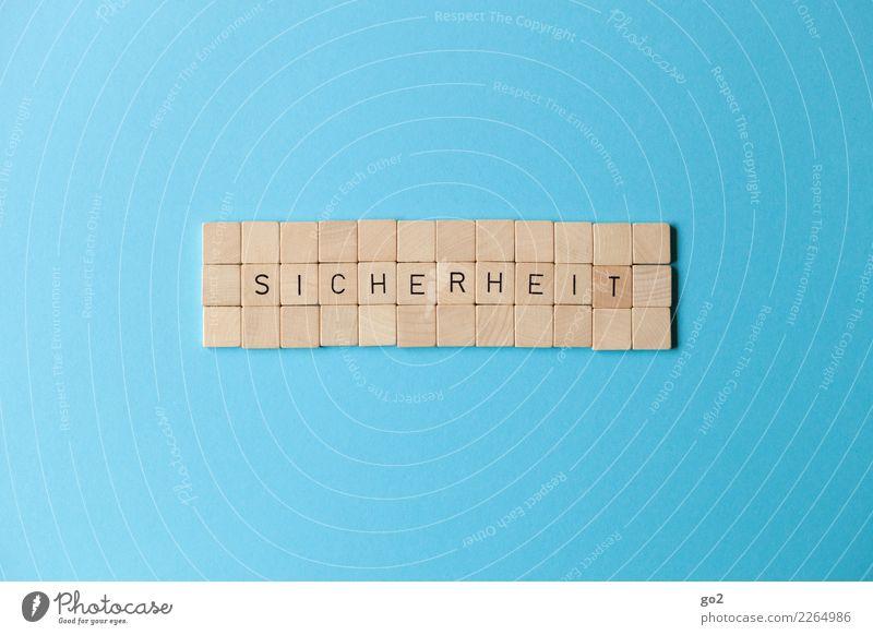 Sicherheit blau Holz Spielen braun Schriftzeichen Kraft Ordnung Erfolg Zukunft bedrohlich Schutz Zukunftsangst Zusammenhalt Frieden Vertrauen
