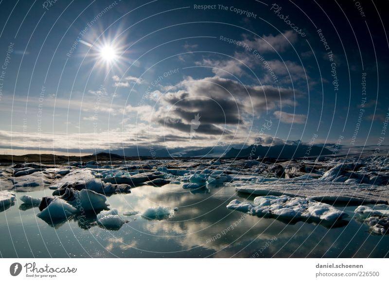 von wegen in Island scheint nie die Sonne Natur Wasser blau Ferien & Urlaub & Reisen Wolken Ferne Umwelt Landschaft Küste Wetter Tourismus Klima Seeufer
