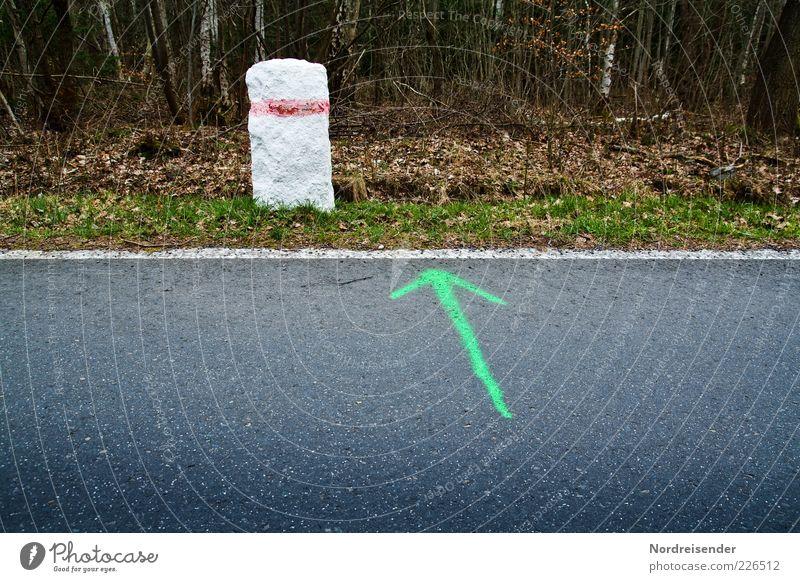 Auszeit?...hier entlang! Natur Wald Straße Leben Wege & Pfade Stein Linie Schilder & Markierungen laufen Pause Asphalt Zeichen Pfeil Teer Straßenrand Waldboden
