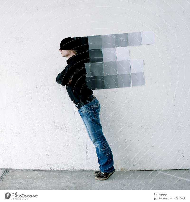 3300_pixel Mensch maskulin Mann Erwachsene 1 Kunst Kunstwerk Hemd Jeanshose Schuhe Mütze Bewegung fallen digital Bildpunkt Verlauf Geschwindigkeit Straßenkunst