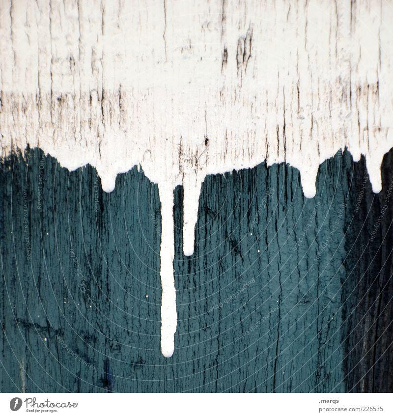 Eis zapfen Stil Design Mauer Wand Holz Zeichen dreckig Flüssigkeit blau weiß Farbe Vergänglichkeit Farbfleck streichen tropfend Farbfoto Nahaufnahme abstrakt