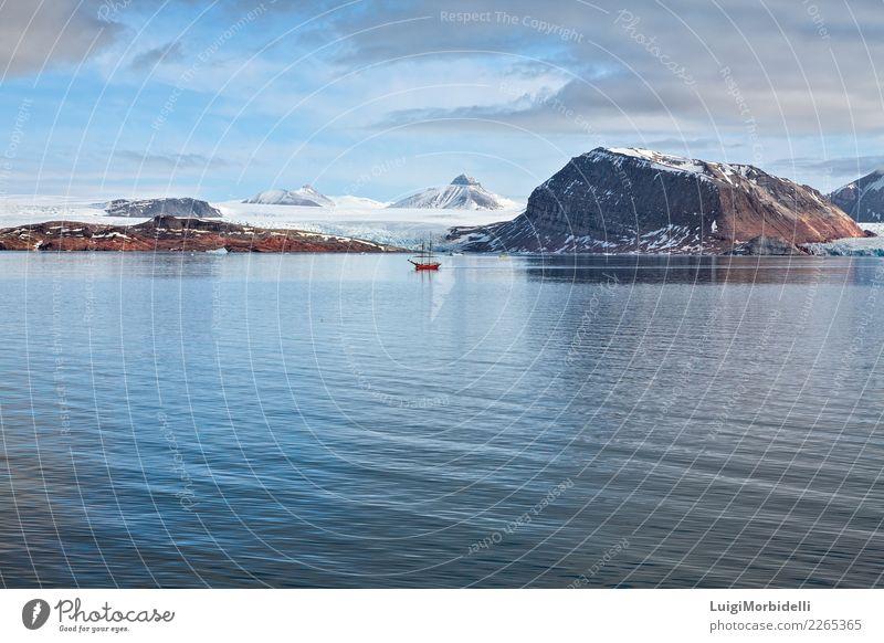 Gletscher und Berge in Svalbard-Inseln, Norwegen Ferien & Urlaub & Reisen Ausflug Sommer Meer Schnee Berge u. Gebirge Natur Landschaft Himmel Wolken Fjord