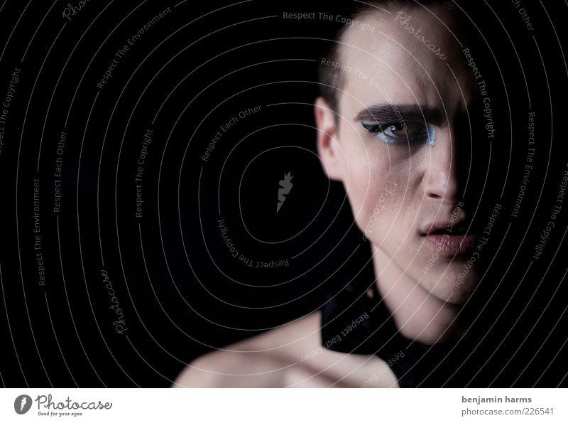 zorn #1 maskulin Junger Mann Jugendliche Kopf Mensch 18-30 Jahre Erwachsene Fliege schwarzhaarig Aggression bedrohlich Wut Macht Angst gefährlich uneinig Rache