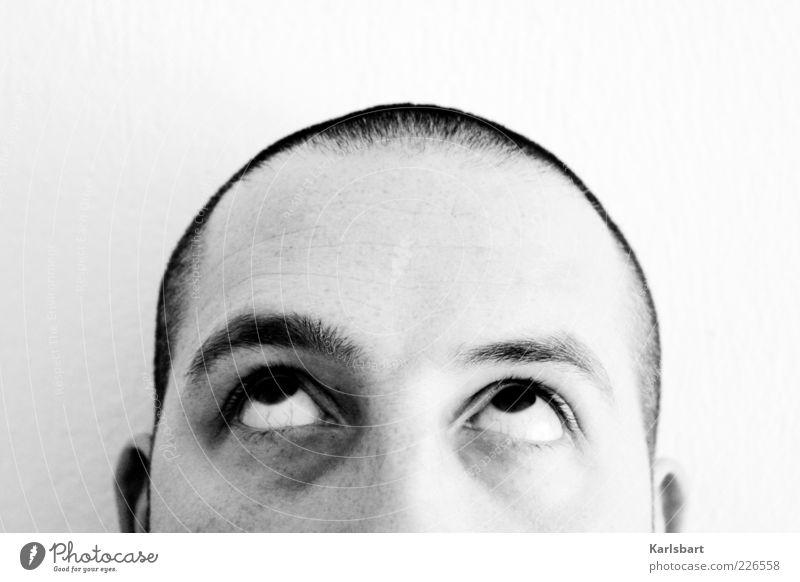 think. creative. Lifestyle Stil Mensch Junger Mann Jugendliche Kopf Auge 1 Medien Haare & Frisuren kurzhaarig Glatze Behaarung Denken Fröhlichkeit positiv