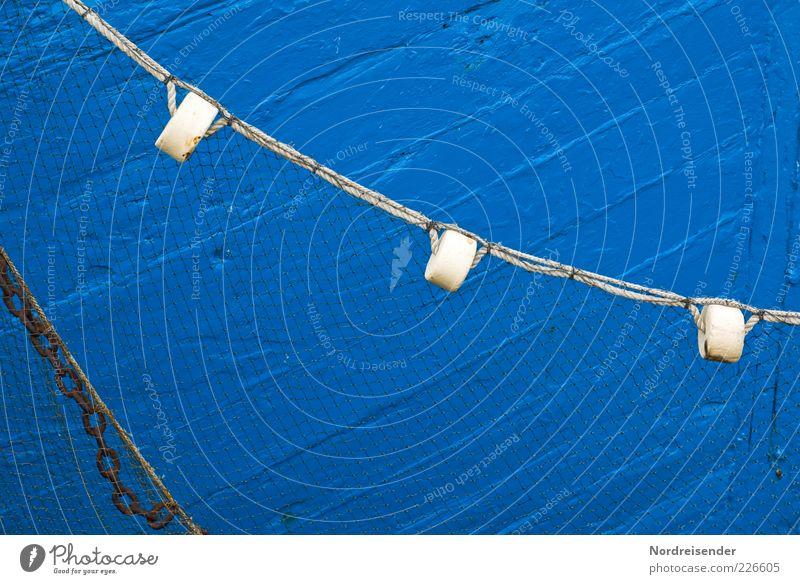 Blau blau Farbe Arbeit & Erwerbstätigkeit Hintergrundbild Seil Netz Spuren Beruf fangen Schifffahrt Kette Nostalgie Fangnetz Fischereiwirtschaft maritim