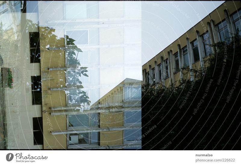 FH doppel Stadt Einsamkeit Haus dunkel Fenster Umwelt Bewegung Fassade Hochhaus verrückt Schulgebäude Lifestyle trist trashig Doppelbelichtung durcheinander