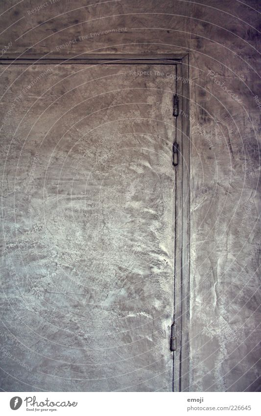 Ende. Aus. Wand grau Mauer Tür Fassade silber abstrakt Scharnier Türrahmen