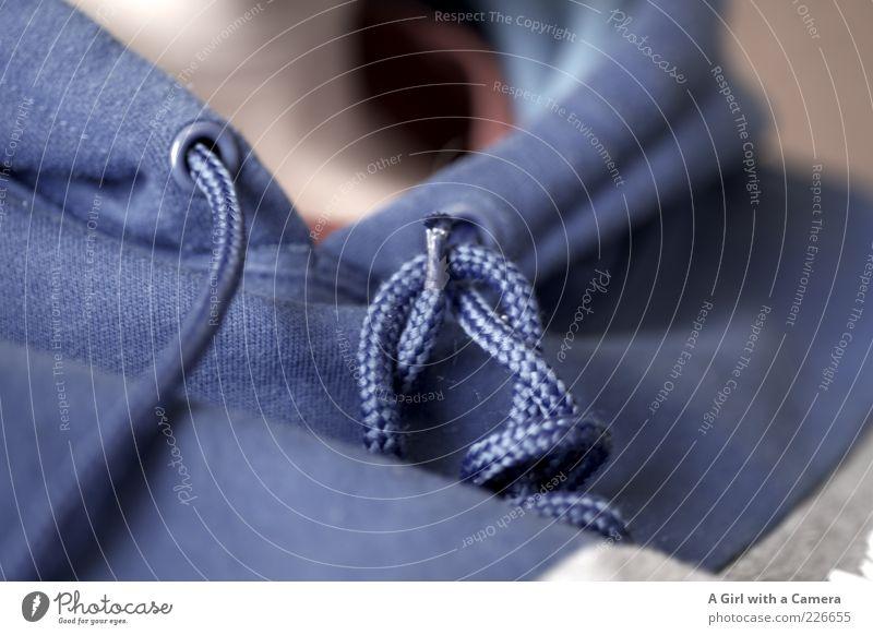 blaue Schnur Mensch blau Freizeit & Hobby modern Schnur Hals Pullover Knoten verdreht Kapuzenpullover Freizeitbekleidung
