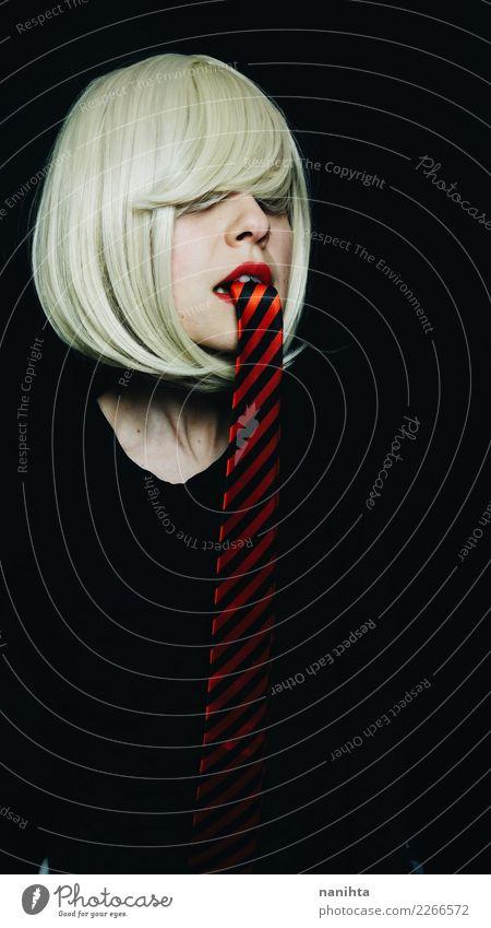 Künstlerisches Portrait einer jungen Frau mit einer Bindung als Zunge elegant Stil Design schön Haut Gesicht Arbeit & Erwerbstätigkeit Mensch feminin Junge Frau