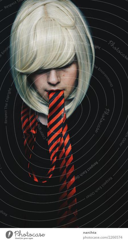 Künstlerisches Portrait einer jungen Frau mit einer Bindung als Zunge elegant Stil Design Haare & Frisuren Haut Gesicht Arbeit & Erwerbstätigkeit Mensch feminin