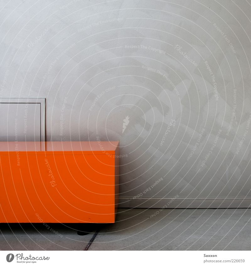 Orange Cube rot ruhig Wand Mauer Metall orange Kasten silber abstrakt eckig