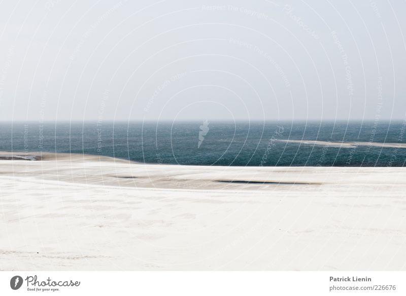 sea side Umwelt Natur Landschaft Urelemente Erde Sand Luft Wasser Himmel Klima Wetter Küste Strand Nordsee Meer Ferne Unendlichkeit Amrum blau grau