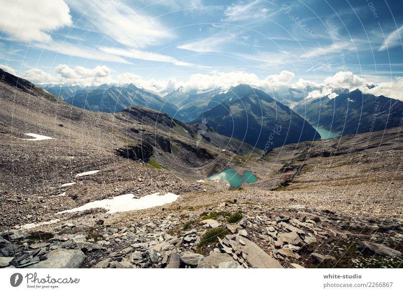 Typisch Berge! Umwelt Natur Schnee Hügel Felsen Alpen Berge u. Gebirge Gipfel Schneebedeckte Gipfel Gletscher See Gebirgssee außergewöhnlich Zentralalpen Tux