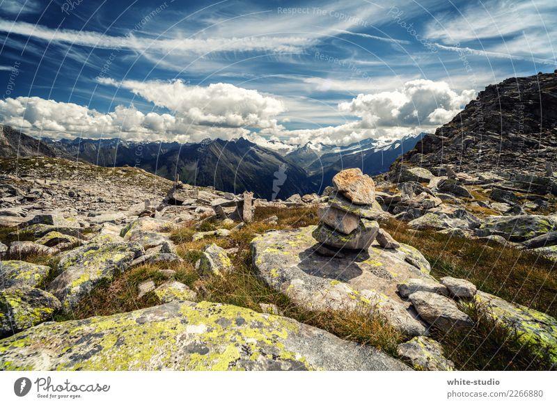 Steinmanderl Hügel Felsen Alpen Berge u. Gebirge wandern Landschaft Panorama (Aussicht) Panorama (Bildformat) Steinmännchen Bergkette Farbfoto