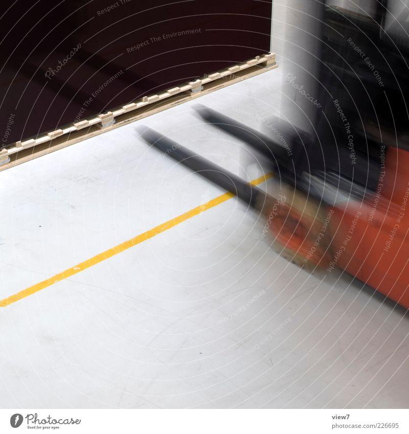 Logistik rot gelb Linie Arbeit & Erwerbstätigkeit Ordnung modern Geschwindigkeit neu Industrie Streifen fahren Technik & Technologie Güterverkehr & Logistik Fabrik Zeichen Konzentration